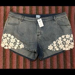 Asos Curve Denim Jean Shorts Boho Floral Crochet
